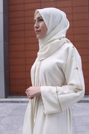 RUHA ŞİFA TESETTUR Beyaz Taşlı Abaya 0