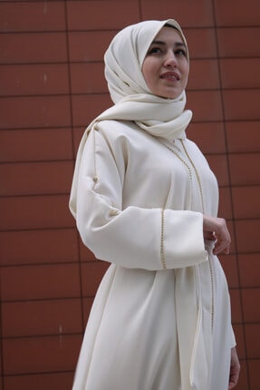 RUHA ŞİFA TESETTUR Beyaz Taşlı Abaya 1