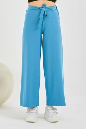 Gentekstil Kadın Gök Mavisi Bel Lastikli Rahat Kesim Pantolon 2
