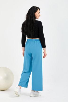 Gentekstil Kadın Gök Mavisi Bel Lastikli Rahat Kesim Pantolon 3
