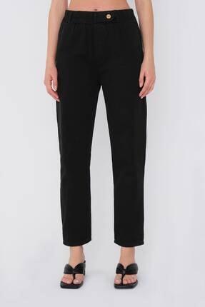 Addax Kadın Siyah Düğme Detaylı Pantolon Pn4191 - Pni ADX-0000021486 3