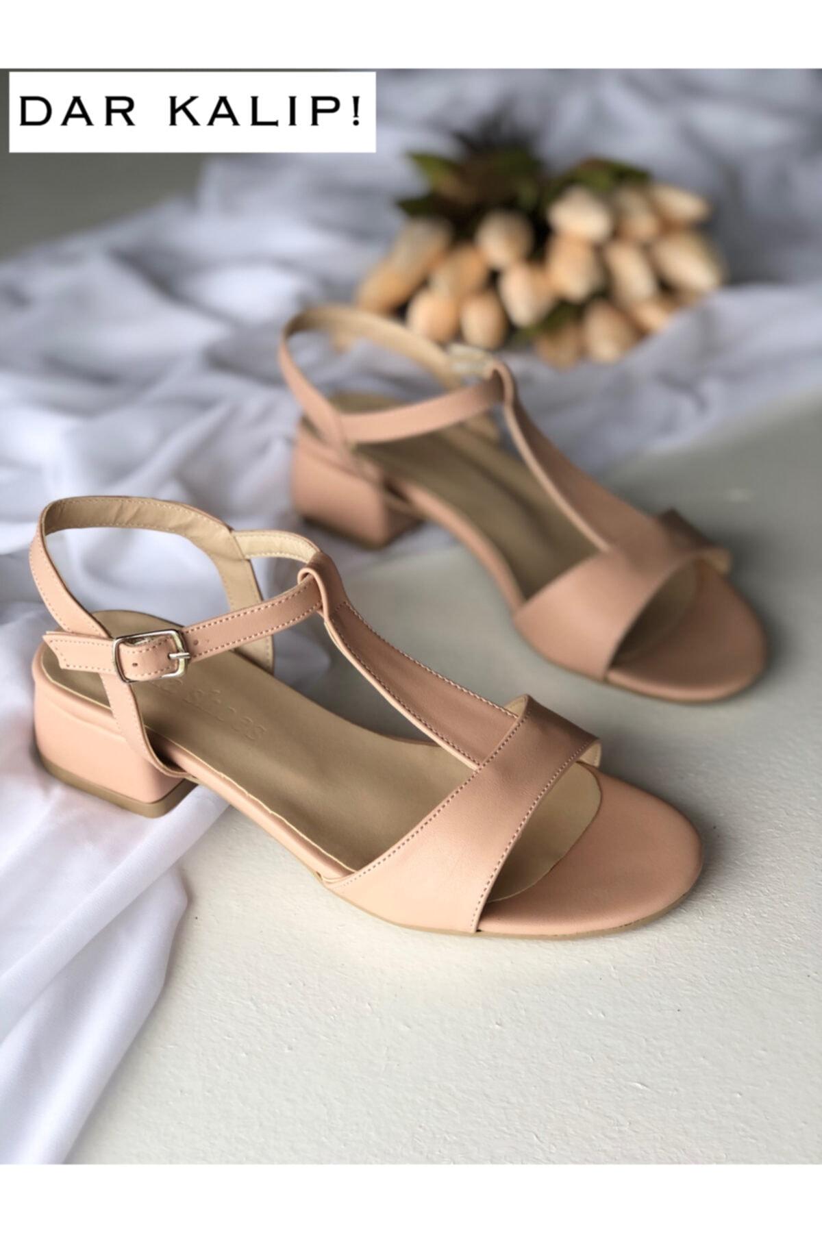 Kadın Pudra Alçak Topuk Rahat Sandalet