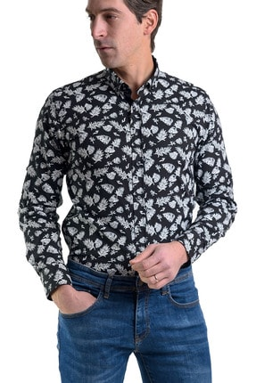 Erkek Siyah Slimfit Likralı Gömlek 1112 00253