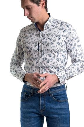 Erkek Beyaz Slim Fit Likralı Gömlek 1112 00253