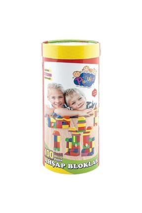 ONYIL OYUNCAK Silindir Kutuda Eğitici Ahşap Oyuncak 100 Parça Renkli Bloklar 1