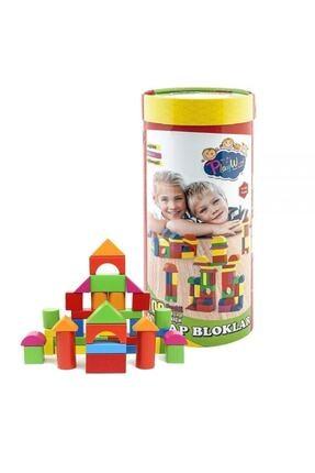 ONYIL OYUNCAK Silindir Kutuda Eğitici Ahşap Oyuncak 100 Parça Renkli Bloklar 2