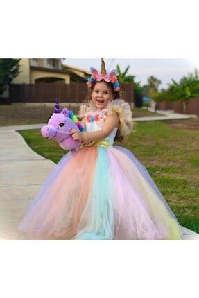 Mashotrend Tarlatanlı Renkli Unicorn Çocuk Kostümü - Unicorn Kız Çocuk Kostümü - Unicorn Kostümü 0