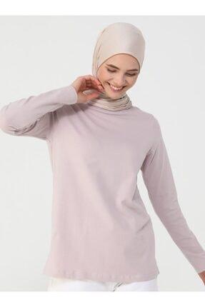 Refka Kadın Derin Pembe Uzun Kollu Pamuk Kumaşlı Basic Tişört 1
