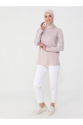 Refka Kadın Derin Pembe Uzun Kollu Pamuk Kumaşlı Basic Tişört 2