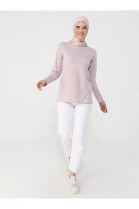 Refka Kadın Derin Pembe Uzun Kollu Pamuk Kumaşlı Basic Tişört 3