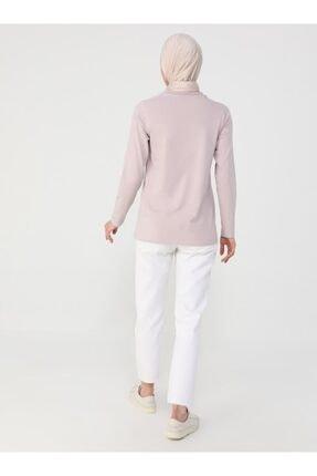 Refka Kadın Derin Pembe Uzun Kollu Pamuk Kumaşlı Basic Tişört 4