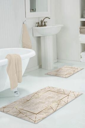 Colizon 60x90 - 50x60 Alya Gold Dijital Banyo Halısı Klozet Takımı 2'li Paspas Seti 0