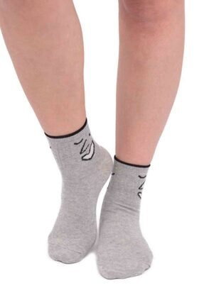 Fashion Emoji Desenli Kadın Soket Çorap 11400 | Gri Gri 36-40 resmi