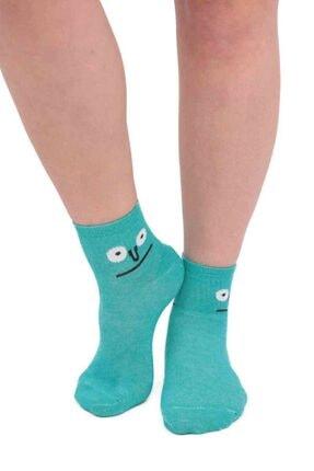 Kadın  Mint  Emoji Desenli Soket Çorap 11400 resmi