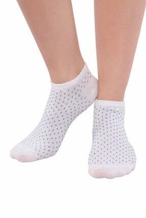 Kadın Beyaz Penguen Puantiyeli Soket Çorap 3'lü resmi