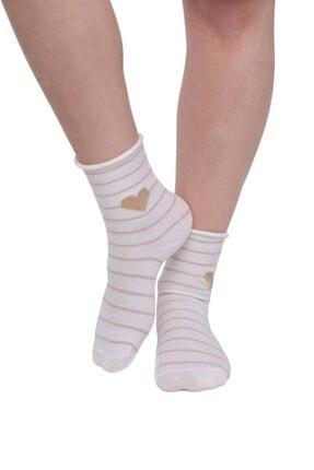 Kadın Beyaz Kalp Desenli Çorap resmi