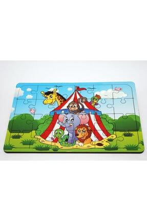 24 Parça Ahşap Puzzle Yapboz Sirk Hayvanları Çocuk Oyuncak 0036