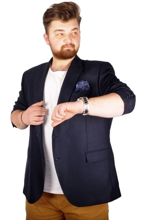 تصویر از Büyük Beden Erkek Ceket Blazer Perfetto Plus 21022 Lacivert