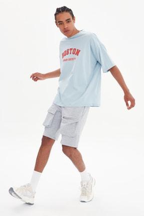 TRENDYOL MAN Mavi Erkek Oversize Bisiklet Yaka Kısa Kollu Baskılı T-Shirt TMNSS21TS1217 0