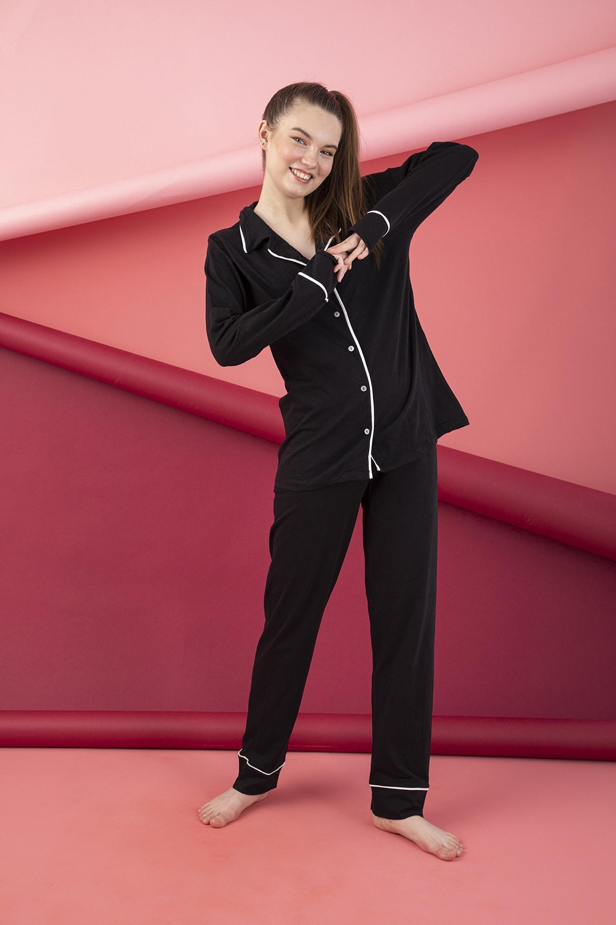 ELİTOL Kadın Siyah Düğmeli Uzun Kol Pamuklu Likralı Pijama Takım