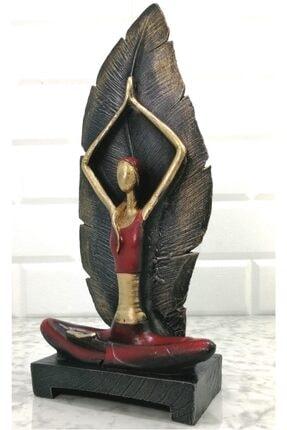Gift Garden Yoga Yapan Kadın Figürü Yapraklı Kırmızı 32 cm Biblo 0