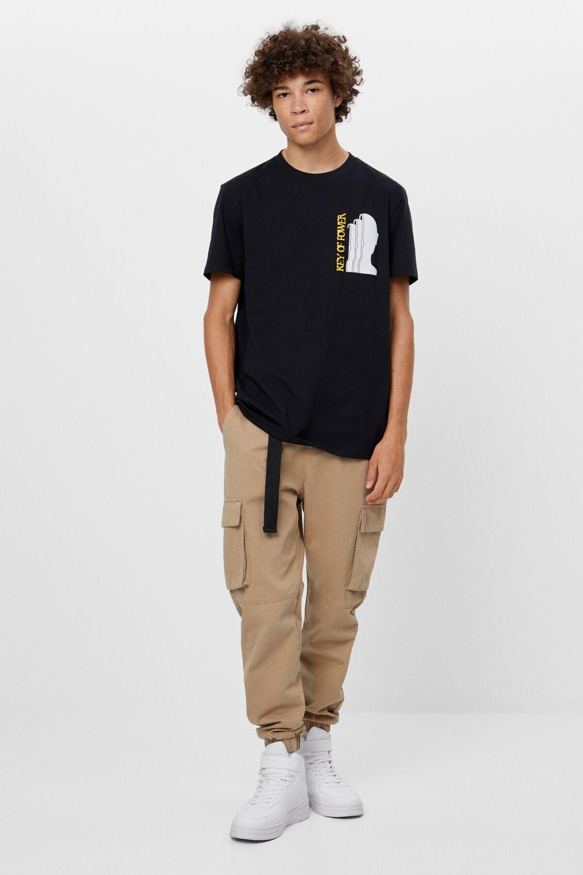 Bershka Kanat Desenli T-shirt 3