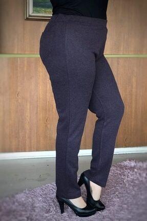LİKRA Kadın Mor Büyük Beden Beli Lastikli Full Lı Çelik Interlok Pantolon 1