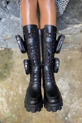 İnan Ayakkabı Bayan Yan Tarafı 2 Adet Cep Detaylı Fermuarlı Çizme 2