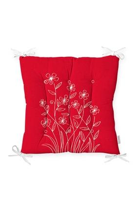 Realhomes Kırmızı Zemin Üzerinde Çiçek Desenli Pofidik Sandalye Minderi 0