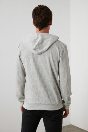 TRENDYOL MAN Gri Erkek Kapüşonlu Regular Sweatshirt TMNAW21SW0629 4