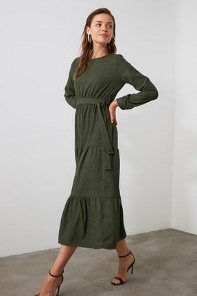 TRENDYOLMİLLA Haki Kuşaklı Kadife Büzgülü Elbise TWOAW20EL2133 2
