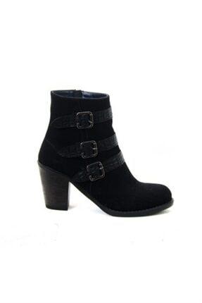 ayakkabiyolla Kadın Siyah Tokalı Topuklu Bot 0