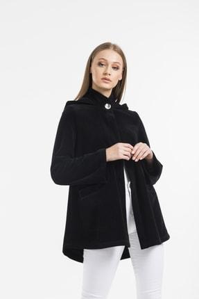 Balo Moda Kadın Siyah Kapüşonlu Softshell Panço 1
