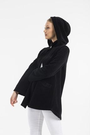Balo Moda Kadın Siyah Kapüşonlu Softshell Panço 3