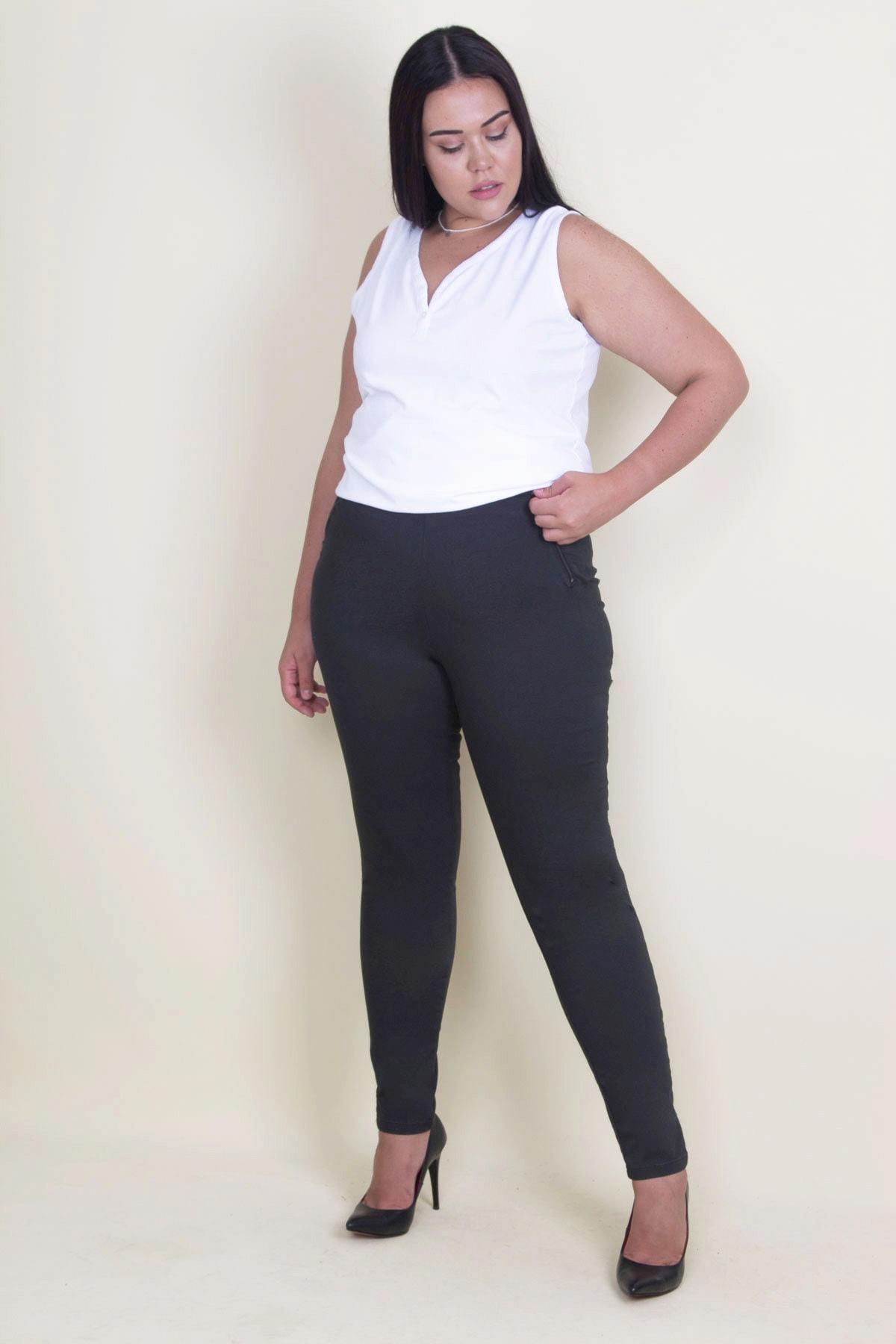 Şans Kadın Siyah Likralı Kumaş Yan Fermuarlı Gizli Kemer Pantolon 65N17764