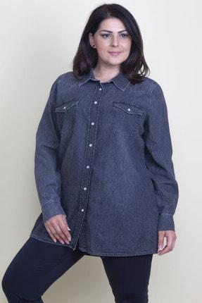 Şans Kadın Antrasit Çıtçıt Düğmeli Tensel Kot Gömlek 65N17797 2