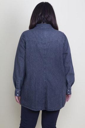 Şans Kadın Antrasit Çıtçıt Düğmeli Tensel Kot Gömlek 65N17797 3
