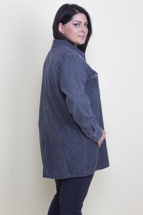 Şans Kadın Antrasit Çıtçıt Düğmeli Tensel Kot Gömlek 65N17797 4