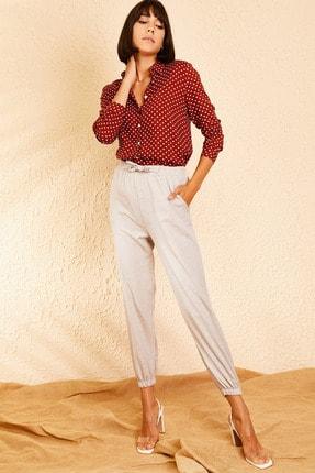 Bianco Lucci Kadın Açık Gri Beli ve Paçası Lastikli Mevsimlik Rahat Pantolon 10111026 1