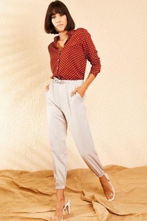 Bianco Lucci Kadın Açık Gri Beli ve Paçası Lastikli Mevsimlik Rahat Pantolon 10111026 2