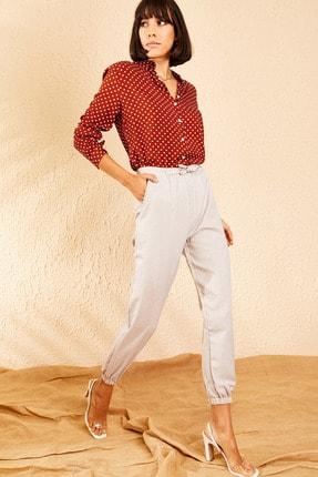 Bianco Lucci Kadın Açık Gri Beli ve Paçası Lastikli Mevsimlik Rahat Pantolon 10111026 3