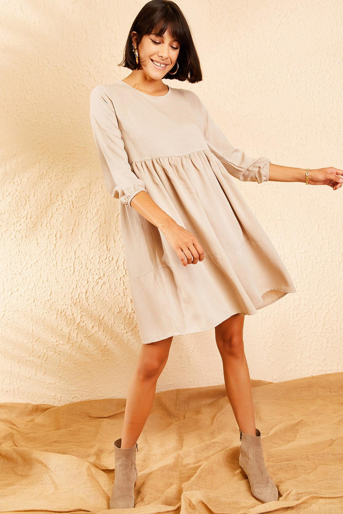 Kadın Bej Kolu Lastikli Basic Kloş Elbise 10111032