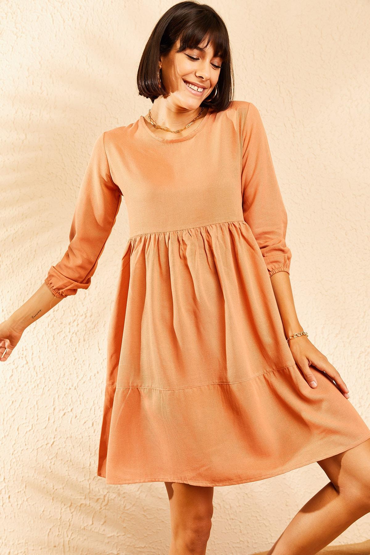 Kadın Kiremit Kolu Lastikli Basic Kloş Elbise 10111032