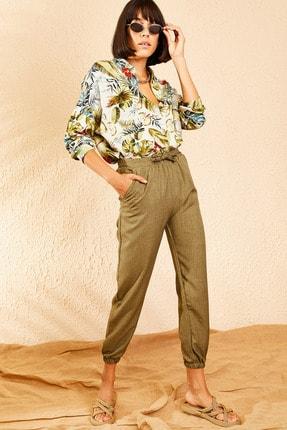 Bianco Lucci Kadın Haki Beli ve Paçası Lastikli Mevsimlik Rahat Pantolon 10111026 1