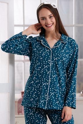 Emose Kadın Yeşil Düğmeli Lohusa Pijama Takımı 0