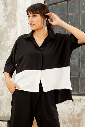 Mispacoz Kadın Siyah Salaş Gömlekli Takım 2