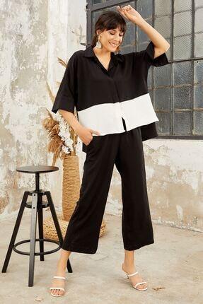 Mispacoz Kadın Siyah Salaş Gömlekli Takım 3