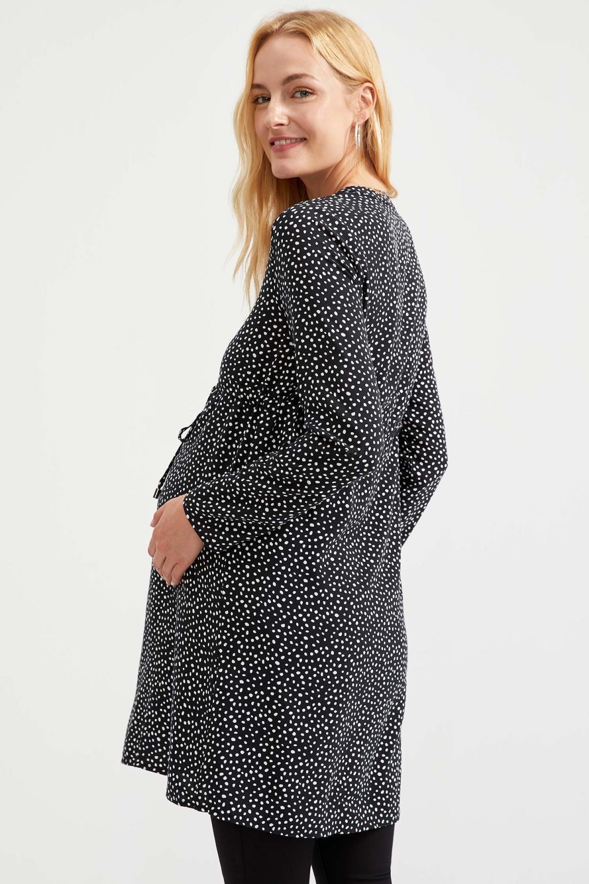 Defacto Kadın Dark Black Desenli Düğme Detaylı Hamile Elbise S1709AZ20AU 3