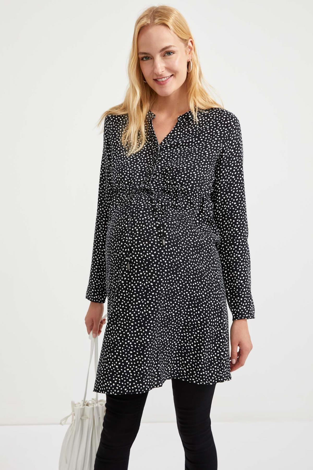 Defacto Kadın Dark Black Desenli Düğme Detaylı Hamile Elbise S1709AZ20AU 4