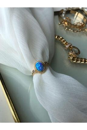 MİSSHİNG Mavi Opal Taş Ayarlanabilir Gold Yüzük 0